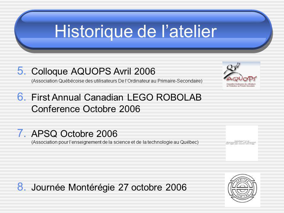 Historique de latelier 5. Colloque AQUOPS Avril 2006 (Association Québécoise des utilisateurs De lOrdinateur au Primaire-Secondaire) 6. First Annual C