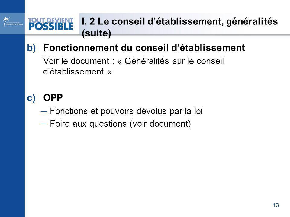 I. 2 Le conseil détablissement, généralités (suite) b)Fonctionnement du conseil détablissement Voir le document : « Généralités sur le conseil détabli