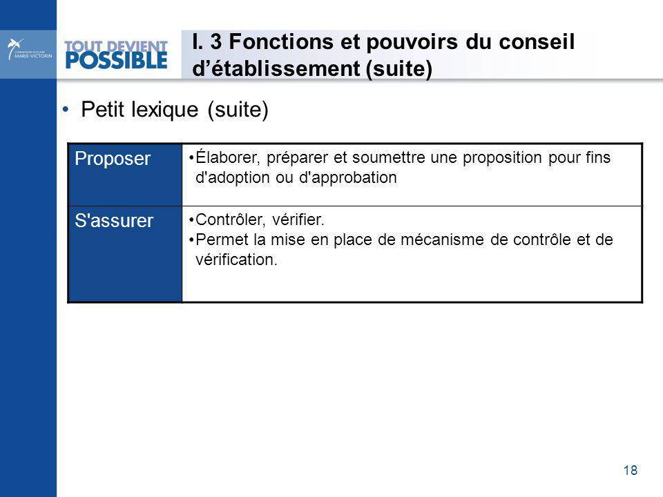 Proposer Élaborer, préparer et soumettre une proposition pour fins d adoption ou d approbation S assurer Contrôler, vérifier.