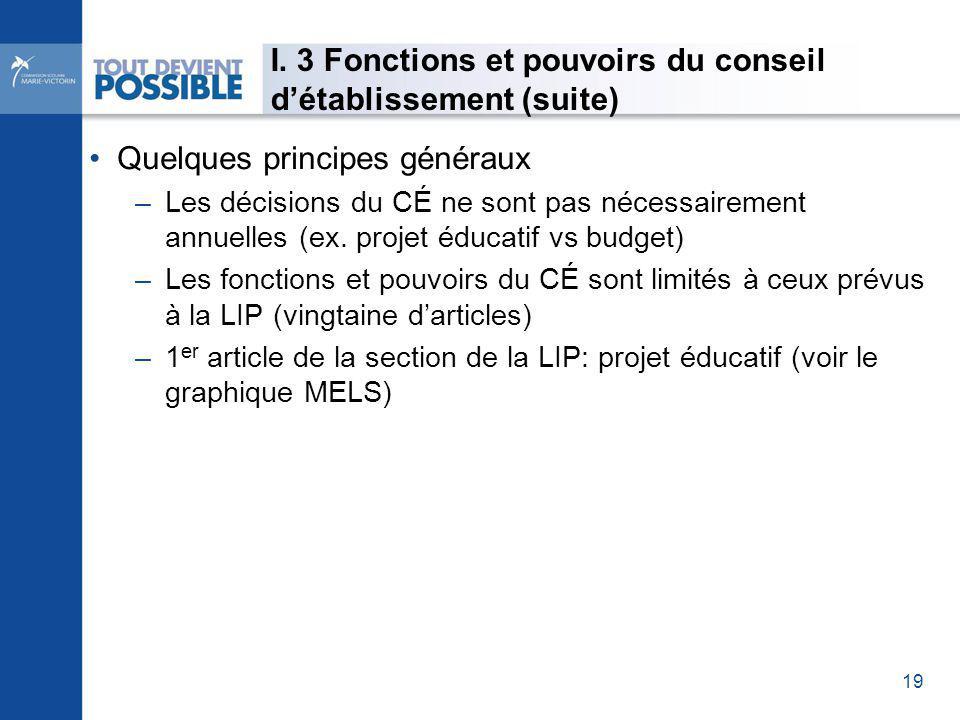 Quelques principes généraux –Les décisions du CÉ ne sont pas nécessairement annuelles (ex.