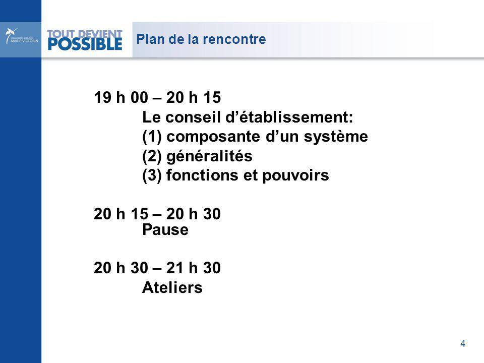 Plan de la rencontre 19 h 00 – 20 h 15 Le conseil détablissement: (1) composante dun système (2) généralités (3) fonctions et pouvoirs 20 h 15 – 20 h 30 Pause 20 h 30 – 21 h 30 Ateliers 4