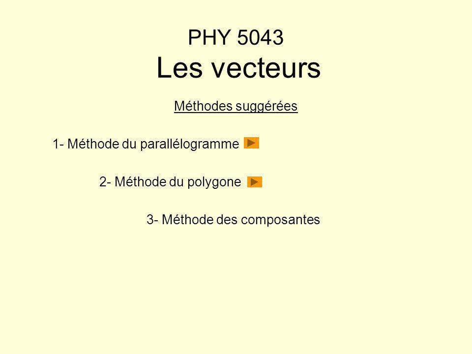 PHY 5043 Les vecteurs Méthodes suggérées 1- Méthode du parallélogramme 2- Méthode du polygone 3- Méthode des composantes