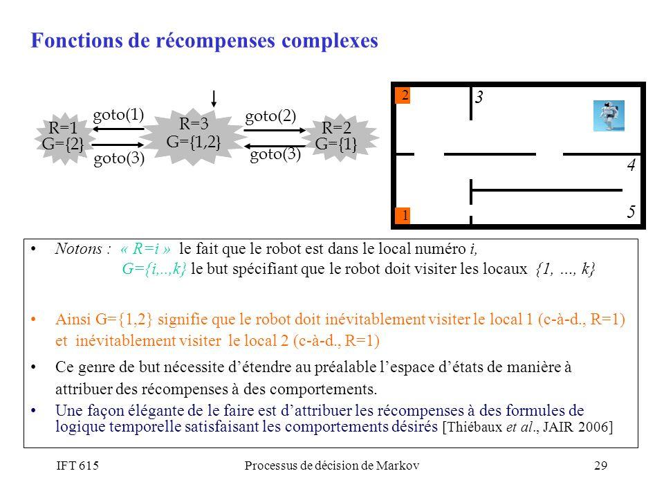 IFT 615Processus de décision de Markov29 Notons : « R=i » le fait que le robot est dans le local numéro i, G={i,..,k} le but spécifiant que le robot d