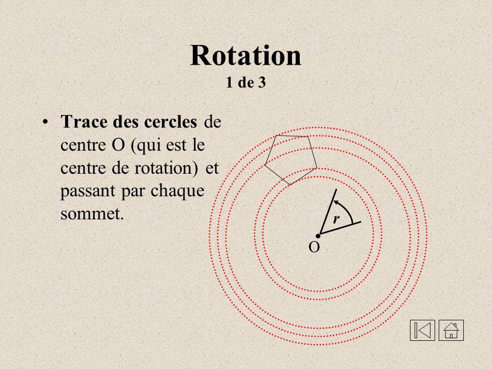 Rotation - Une transformation géométrique qui, à tous les points du plan, fait correspondre un point image suivant un centre, un angle et un sens de rotation donnés Démonstration
