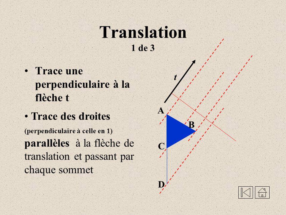 Translation - Une transformation géométrique qui, à tous les points du plan, fait correspondre un point image suivant une même direction, un même sens et une même distance Démonstration