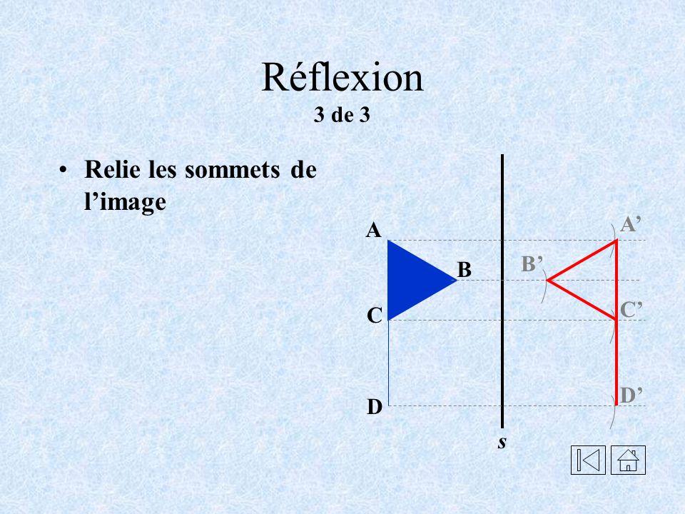 Réflexion 2 de 3 Reporte, la mesure entre le sommet et laxe s, de lautre côté sur la ligne pointillée correspondante.
