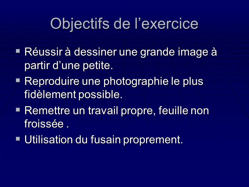 Objectifs de lexercice Réussir à dessiner une grande image à partir dune petite. Réussir à dessiner une grande image à partir dune petite. Reproduire