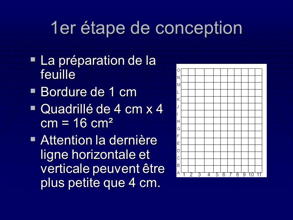 1er étape de conception La préparation de la feuille La préparation de la feuille Bordure de 1 cm Bordure de 1 cm Quadrillé de 4 cm x 4 cm = 16 cm² Qu