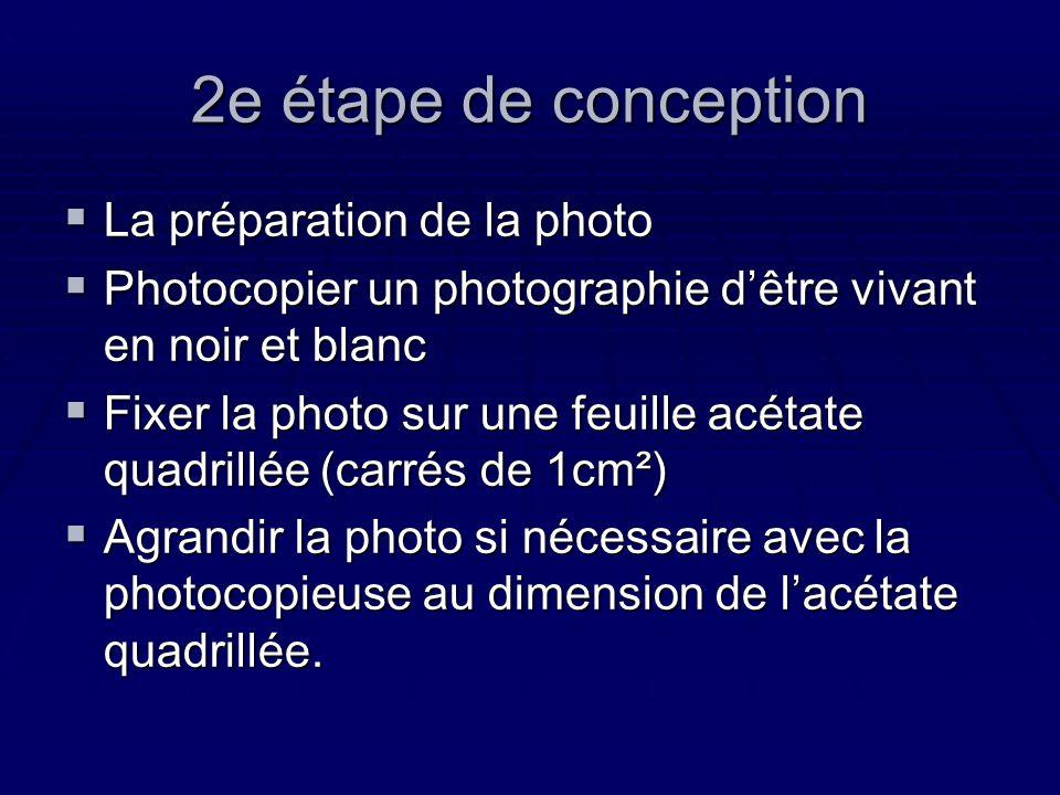 2e étape de conception La préparation de la photo La préparation de la photo Photocopier un photographie dêtre vivant en noir et blanc Photocopier un