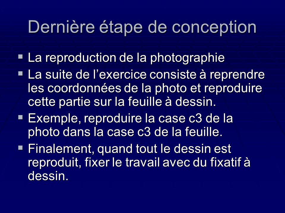 Dernière étape de conception La reproduction de la photographie La reproduction de la photographie La suite de lexercice consiste à reprendre les coor