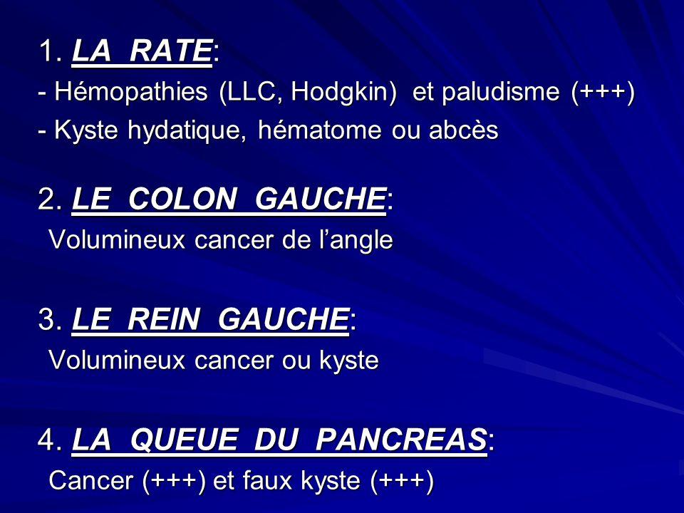 1. LA RATE: - Hémopathies (LLC, Hodgkin) et paludisme (+++) - Kyste hydatique, hématome ou abcès 2. LE COLON GAUCHE: Volumineux cancer de langle Volum