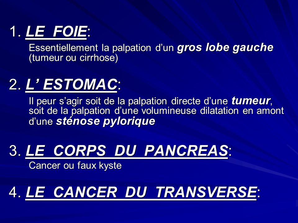 1. LE FOIE: Essentiellement la palpation dun gros lobe gauche (tumeur ou cirrhose) 2. L ESTOMAC: Il peur sagir soit de la palpation directe dune tumeu