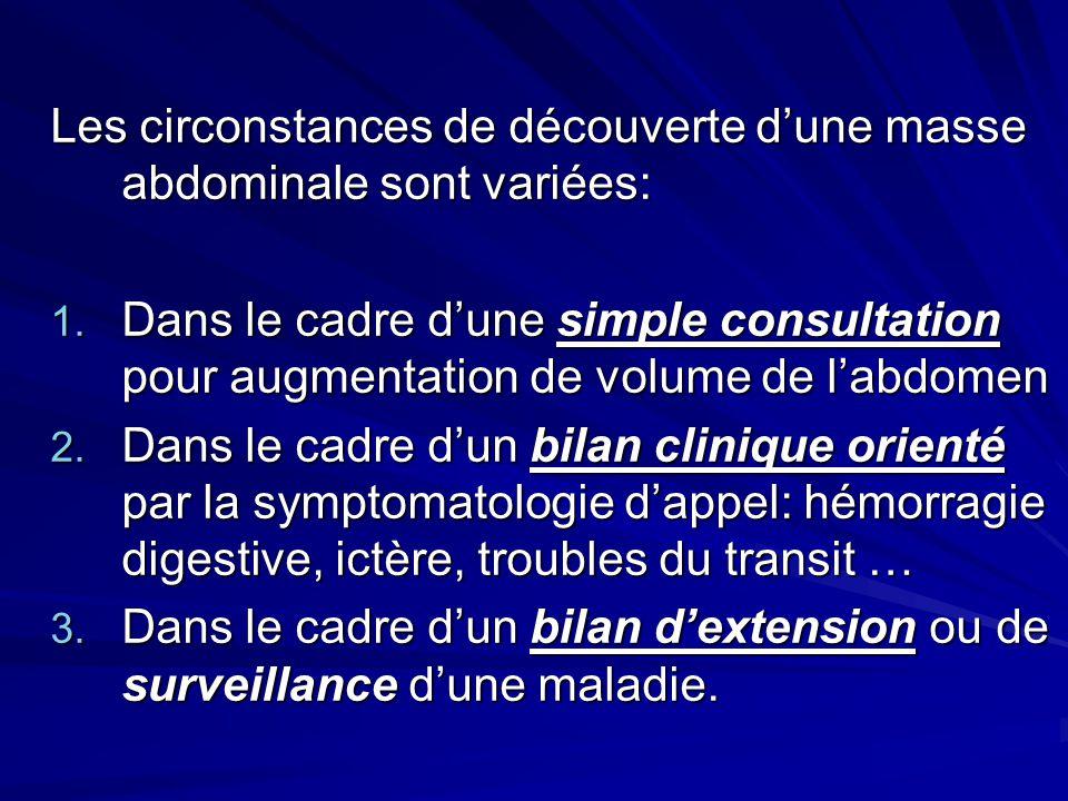 Les circonstances de découverte dune masse abdominale sont variées: 1. Dans le cadre dune simple consultation pour augmentation de volume de labdomen