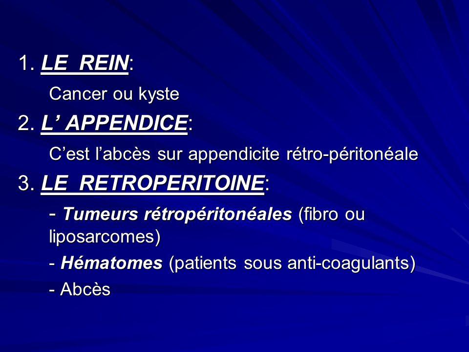 1. LE REIN: Cancer ou kyste 2. L APPENDICE: Cest labcès sur appendicite rétro-péritonéale 3. LE RETROPERITOINE: - Tumeurs rétropéritonéales (fibro ou