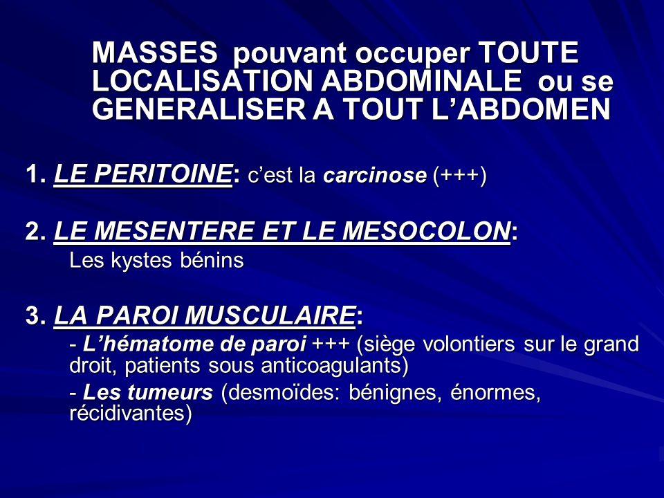 MASSES pouvant occuper TOUTE LOCALISATION ABDOMINALE ou se GENERALISER A TOUT LABDOMEN 1. LE PERITOINE: cest la carcinose (+++) 2. LE MESENTERE ET LE