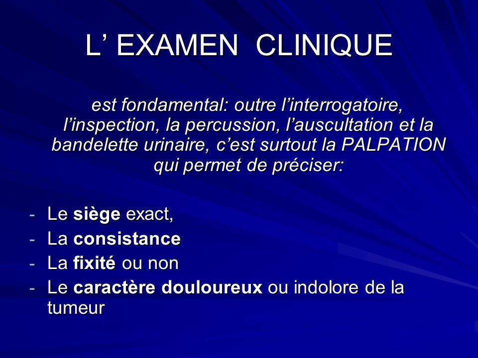 L EXAMEN CLINIQUE est fondamental: outre linterrogatoire, linspection, la percussion, lauscultation et la bandelette urinaire, cest surtout la PALPATI