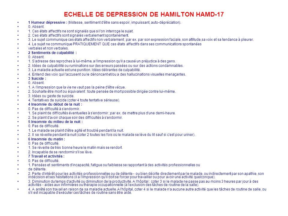 ECHELLE DE DEPRESSION DE HAMILTON HAMD-17 1 Humeur dépressive : (tristesse, sentiment d'être sans espoir, impuissant, auto-dépréciation). 0. Absent. 1
