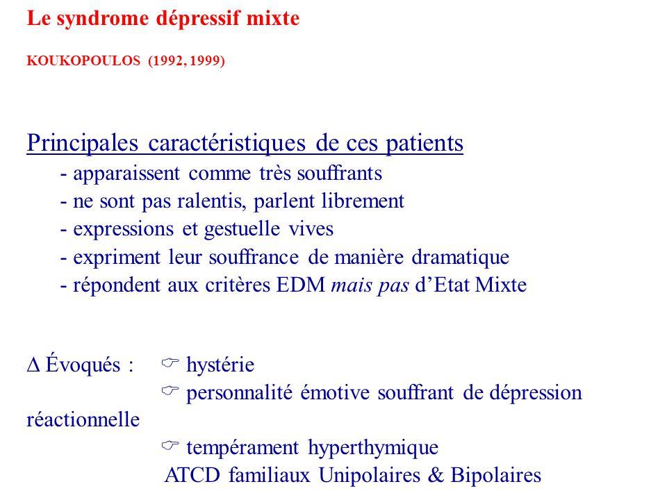 Le syndrome dépressif mixte KOUKOPOULOS (1992, 1999) Principales caractéristiques de ces patients - apparaissent comme très souffrants - ne sont pas r