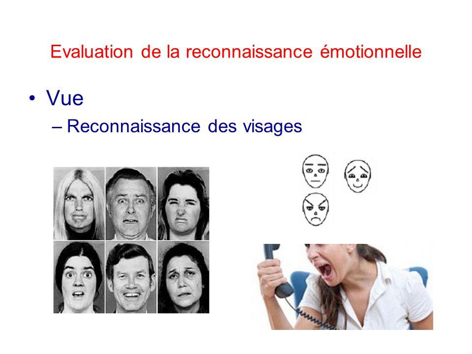 Evaluation de la reconnaissance émotionnelle Vue –Reconnaissance des visages –Photos, films