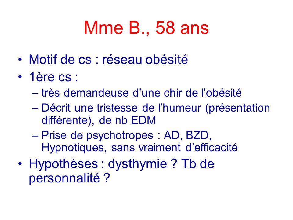Mme B., 58 ans Motif de cs : réseau obésité 1ère cs : –très demandeuse dune chir de lobésité –Décrit une tristesse de lhumeur (présentation différente