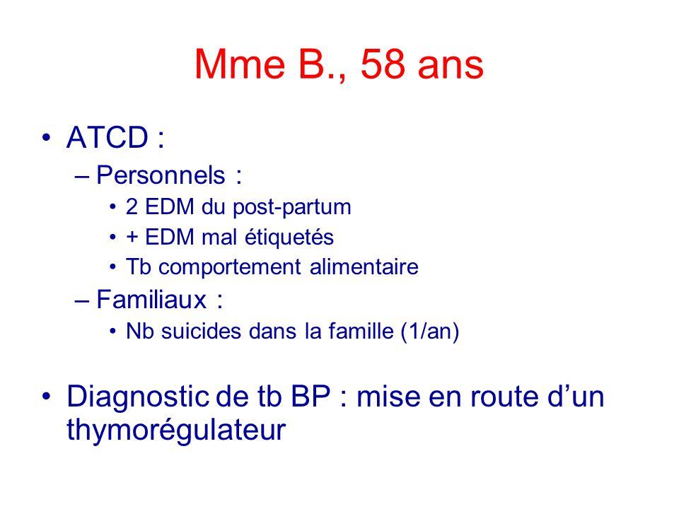 Mme B., 58 ans ATCD : –Personnels : 2 EDM du post-partum + EDM mal étiquetés Tb comportement alimentaire –Familiaux : Nb suicides dans la famille (1/a