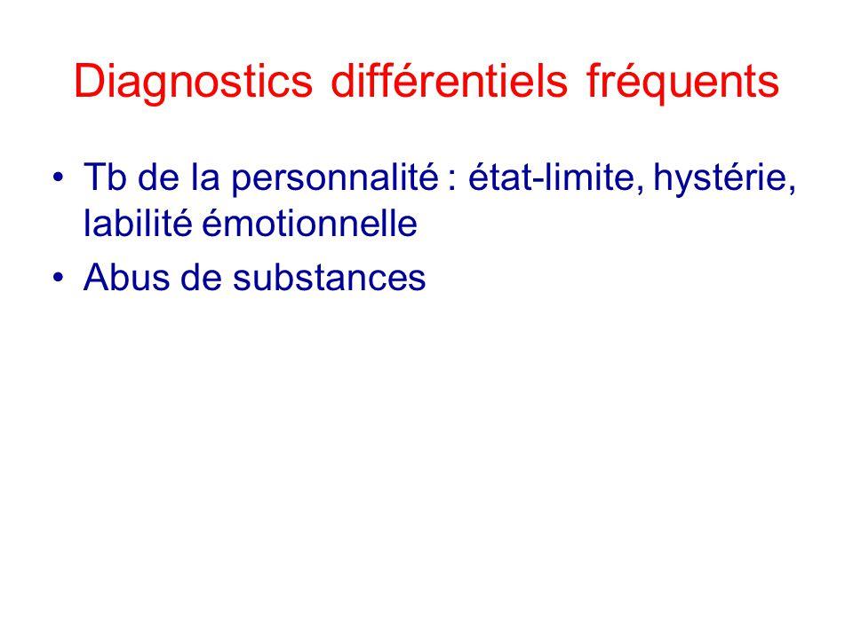 Diagnostics différentiels fréquents Tb de la personnalité : état-limite, hystérie, labilité émotionnelle Abus de substances