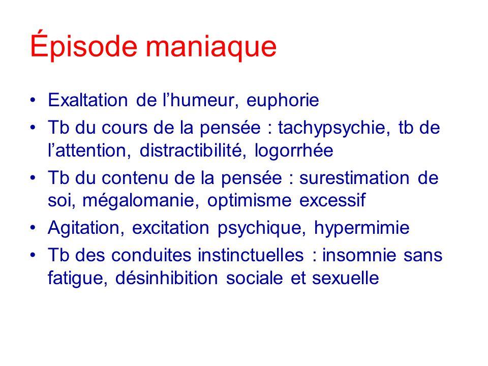 Épisode maniaque Exaltation de lhumeur, euphorie Tb du cours de la pensée : tachypsychie, tb de lattention, distractibilité, logorrhée Tb du contenu d