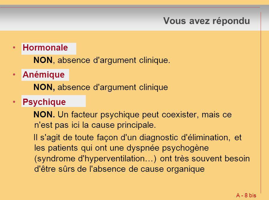 Hormonale NON, absence d'argument clinique. Anémique NON, absence d'argument clinique Psychique NON. Un facteur psychique peut coexister, mais ce n'es