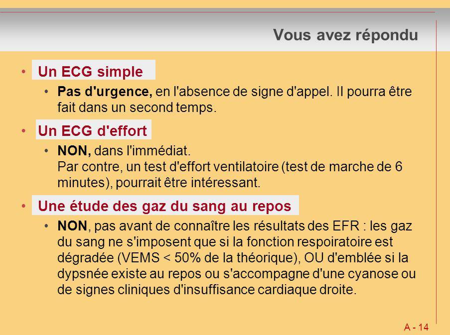Vous avez répondu A - 14 Un ECG simple Pas d'urgence, en l'absence de signe d'appel. Il pourra être fait dans un second temps. Un ECG d'effort NON, da