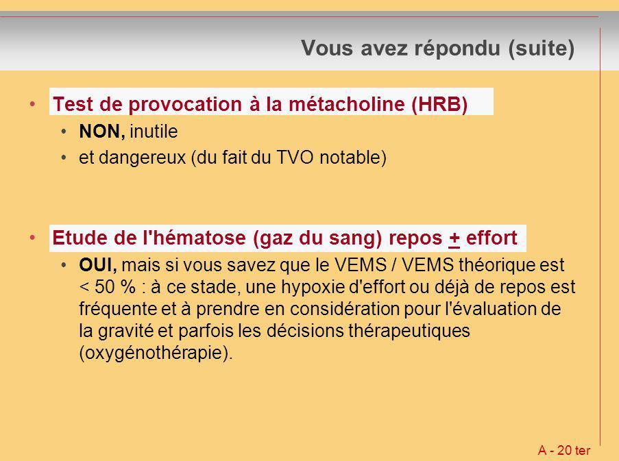 Vous avez répondu (suite) Test de provocation à la métacholine (HRB) NON, inutile et dangereux (du fait du TVO notable) Etude de l'hématose (gaz du sa