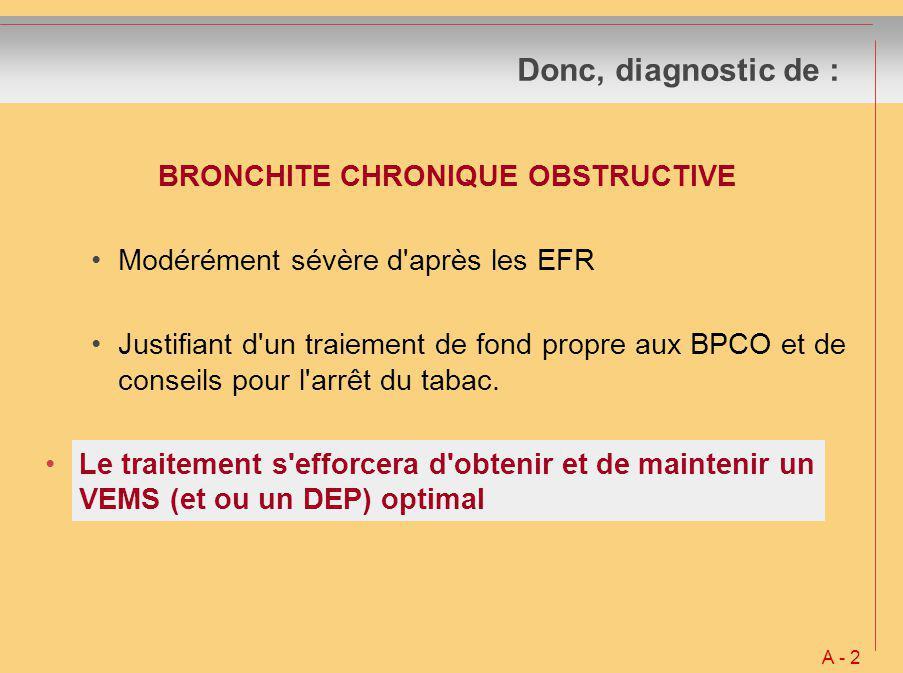 Donc, diagnostic de : A - 2 BRONCHITE CHRONIQUE OBSTRUCTIVE Modérément sévère d'après les EFR Justifiant d'un traiement de fond propre aux BPCO et de