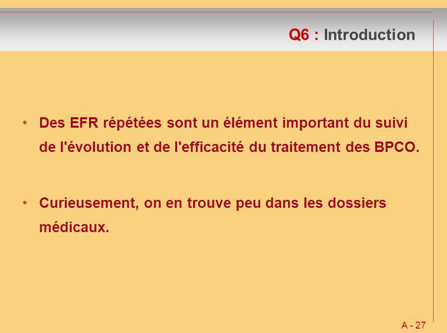 Q6 : Introduction Des EFR répétées sont un élément important du suivi de l'évolution et de l'efficacité du traitement des BPCO. Curieusement, on en tr
