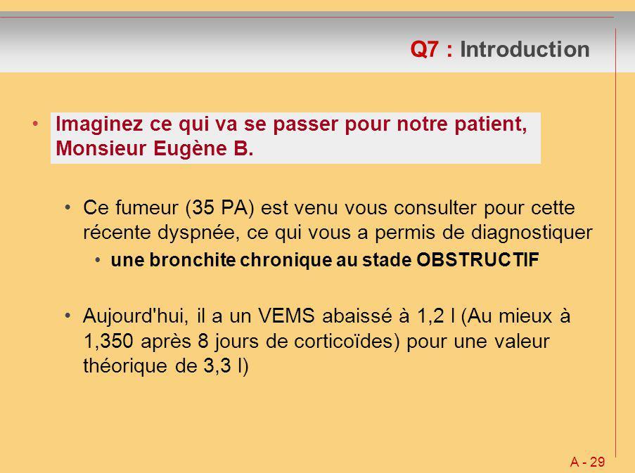 Q7 : Introduction Imaginez ce qui va se passer pour notre patient, Monsieur Eugène B. Ce fumeur (35 PA) est venu vous consulter pour cette récente dys