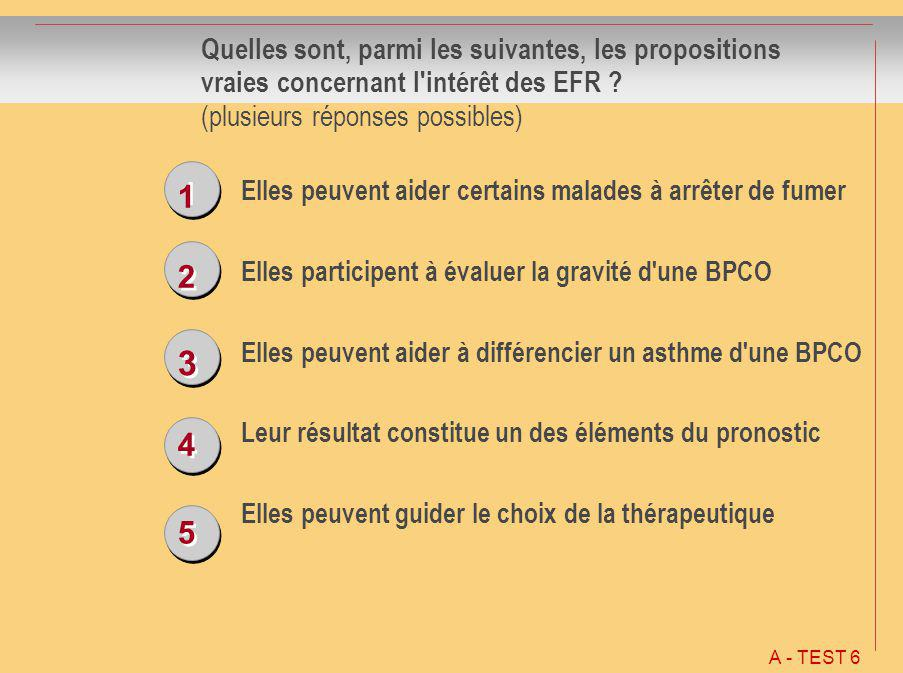 1 1 2 2 3 3 4 4 5 5 Quelles sont, parmi les suivantes, les propositions vraies concernant l'intérêt des EFR ? (plusieurs réponses possibles) Elles peu