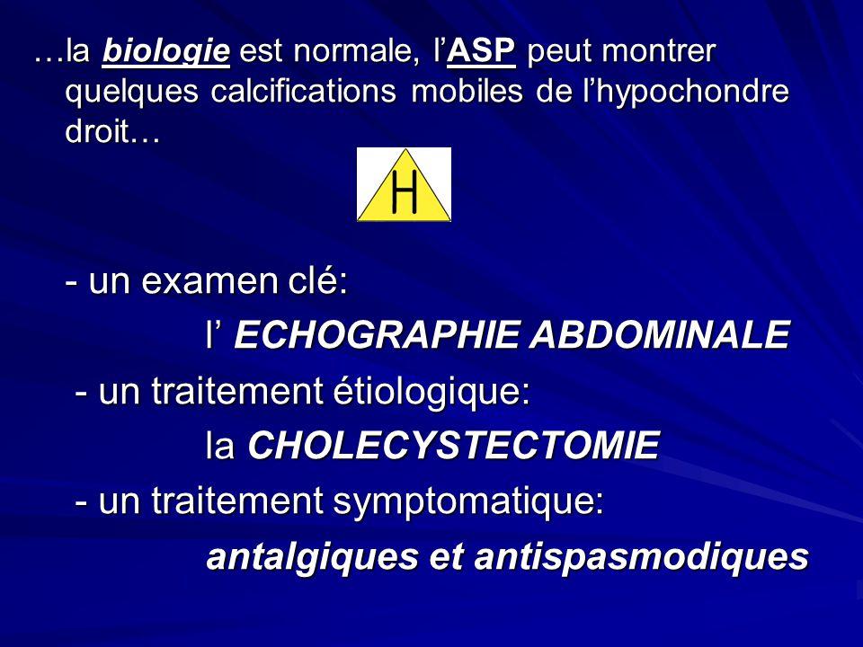 …la biologie est normale, lASP peut montrer quelques calcifications mobiles de lhypochondre droit… - un examen clé: l ECHOGRAPHIE ABDOMINALE - un trai