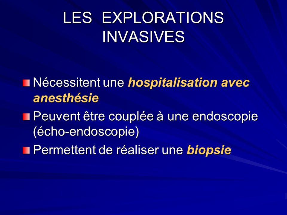LES EXPLORATIONS INVASIVES Nécessitent une hospitalisation avec anesthésie Peuvent être couplée à une endoscopie (écho-endoscopie) Permettent de réali