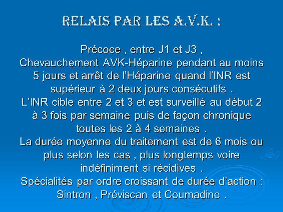 RELAIS PAR LES A.V.K. : Précoce, entre J1 et J3, Chevauchement AVK-Héparine pendant au moins 5 jours et arrêt de lHéparine quand lINR est supérieur à