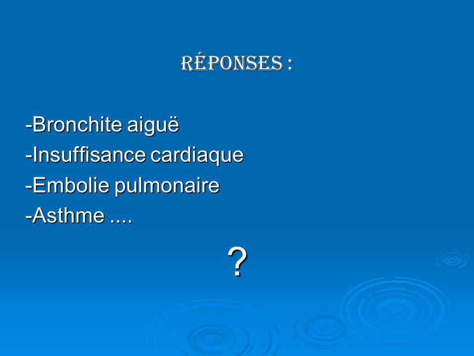 Réponses : -Bronchite aiguë -Insuffisance cardiaque -Embolie pulmonaire -Asthme.... ?