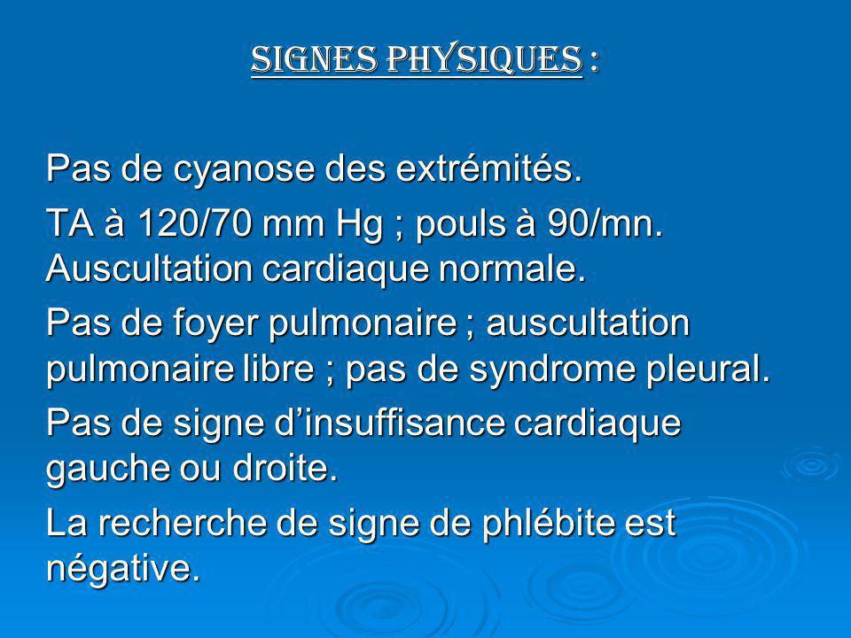 Signes physiques : Pas de cyanose des extrémités. Pas de cyanose des extrémités. TA à 120/70 mm Hg ; pouls à 90/mn. Auscultation cardiaque normale. Pa
