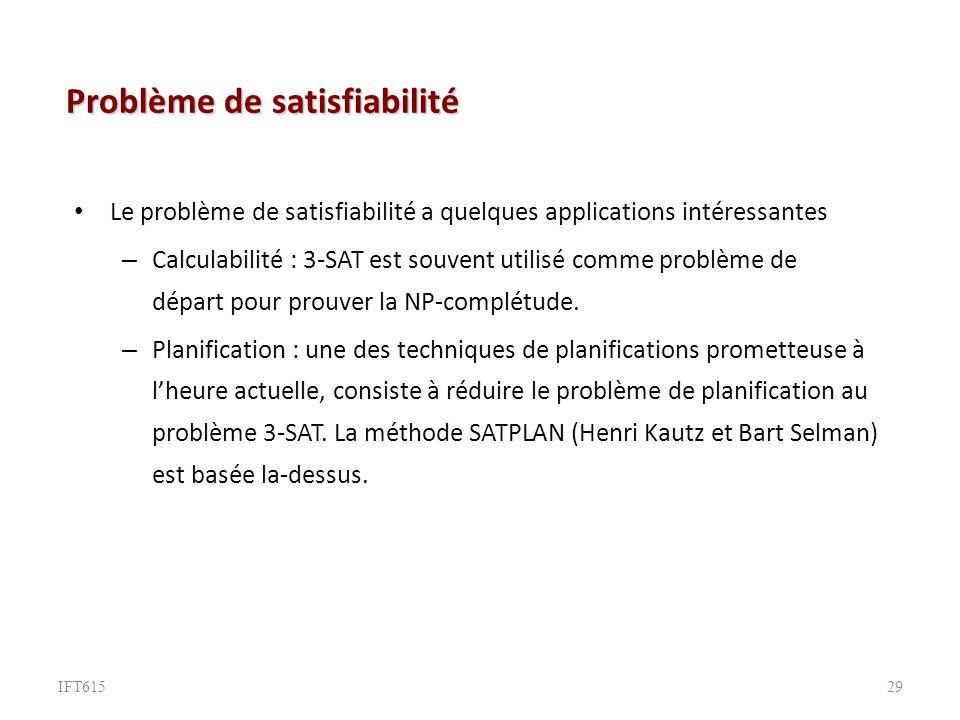 Problème de satisfiabilité Le problème de satisfiabilité a quelques applications intéressantes – Calculabilité : 3-SAT est souvent utilisé comme problème de départ pour prouver la NP-complétude.