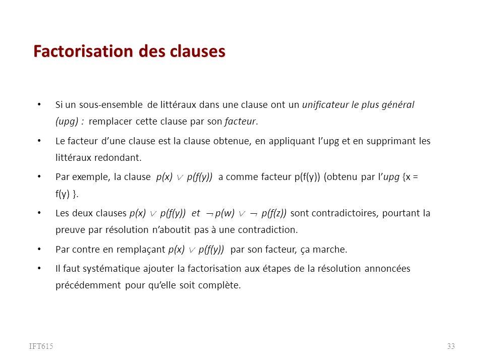 Factorisation des clauses Si un sous-ensemble de littéraux dans une clause ont un unificateur le plus général (upg) : remplacer cette clause par son facteur.