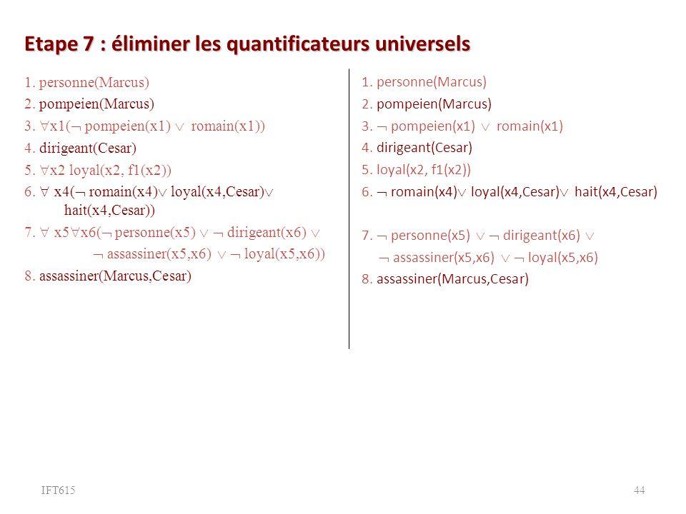 Etape 7 : éliminer les quantificateurs universels 1.