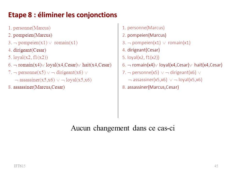 Etape 8 : éliminer les conjonctions 1.personne(Marcus) 2.