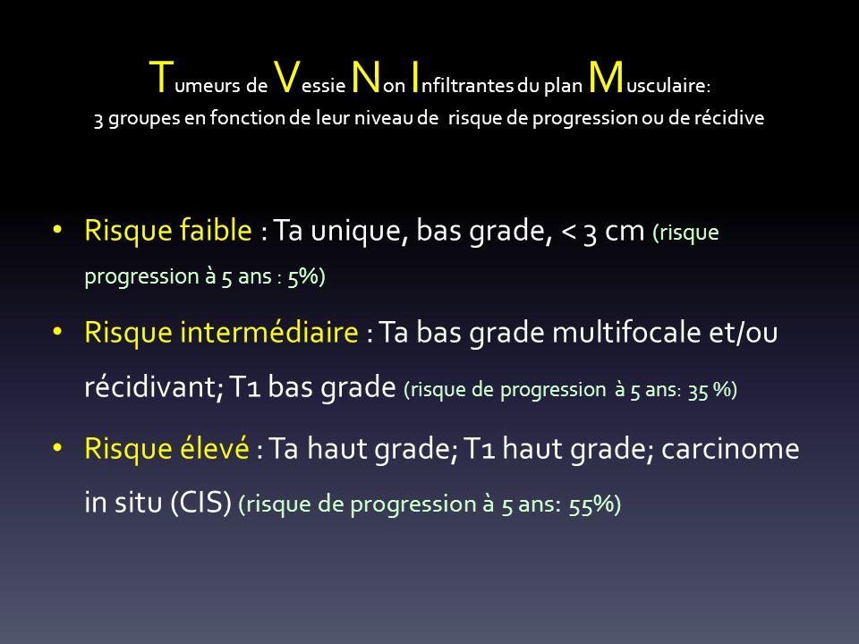 T umeurs de V essie N on I nfiltrantes du plan M usculaire: 3 groupes en fonction de leur niveau de risque de progression ou de récidive Risque faible