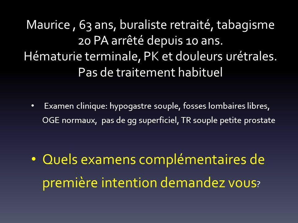 Biologie: NFS,VS,CRP, créatininémie, ECBU, PSA Echographie de lappareil urinaire