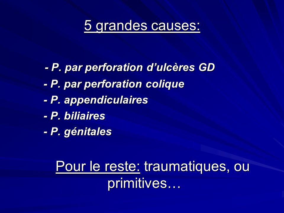 5 grandes causes: 5 grandes causes: - P. par perforation dulcères GD - P. par perforation dulcères GD - P. par perforation colique - P. par perforatio