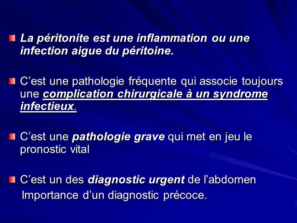 La péritonite est une inflammation ou une infection aigue du péritoine. Cest une pathologie fréquente qui associe toujours une complication chirurgica