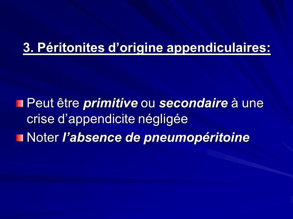 3. Péritonites dorigine appendiculaires: Peut être primitive ou secondaire à une crise dappendicite négligée Noter labsence de pneumopéritoine