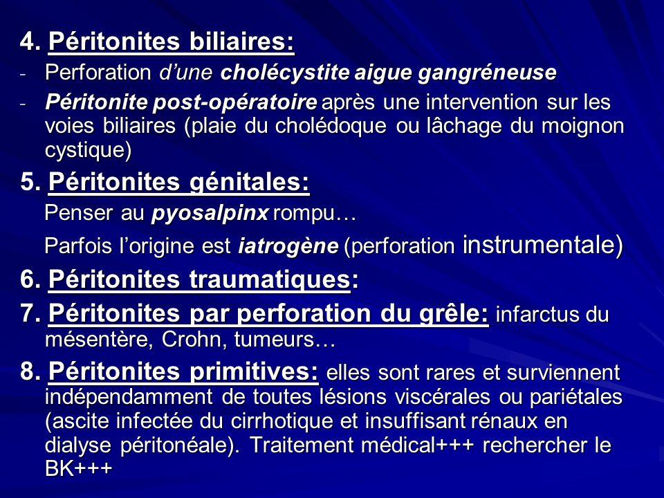 4. Péritonites biliaires: - Perforation dune cholécystite aigue gangréneuse - Péritonite post-opératoire après une intervention sur les voies biliaire