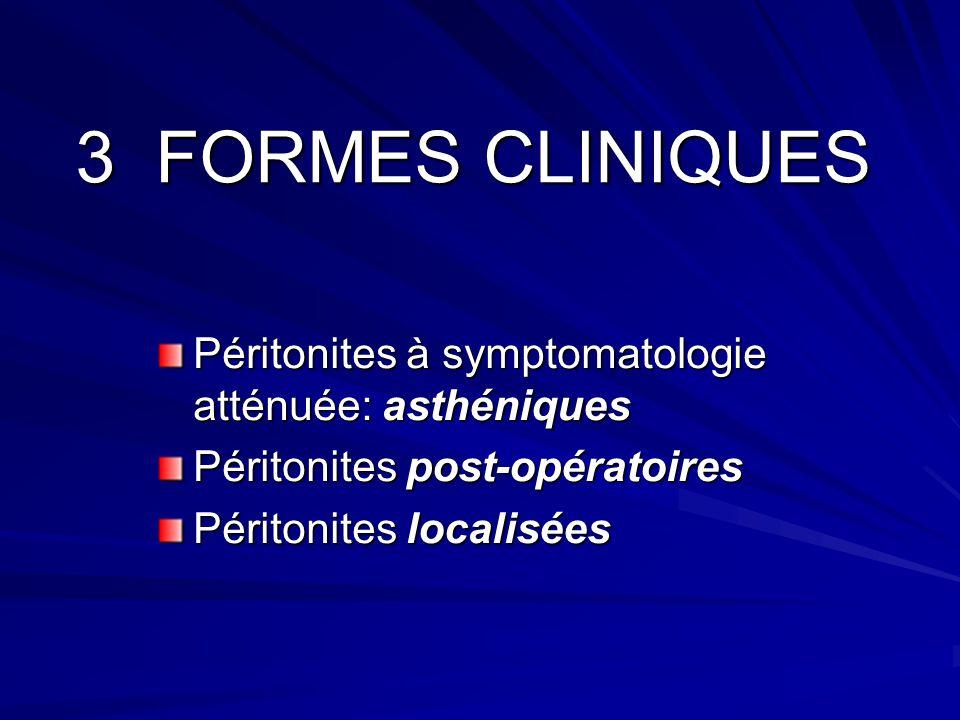 3 FORMES CLINIQUES Péritonites à symptomatologie atténuée: asthéniques Péritonites à symptomatologie atténuée: asthéniques Péritonites post-opératoire